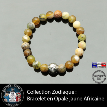 Bracelet opale jaune africaine et son signe astrologique boule zircon