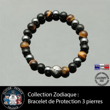Bracelet protection homme aux 3 pierres naturelles et son signe astrologique boule zircon