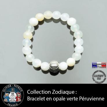 Bracelet opale verte péruvienne et son signe astrologique boule 3 faces
