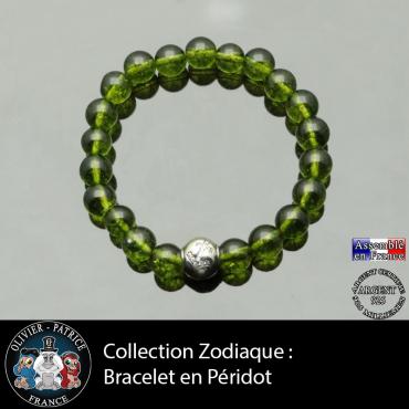 Bracelet péridot et son signe astrologique boule zircon