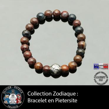 Bracelet en piétersite naturelle et son signe astrologique sur boule en argent 925 et zircon