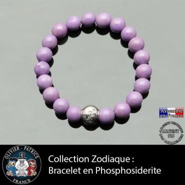 Bracelet phosphosidérite et son signe astrologique  boule zircon