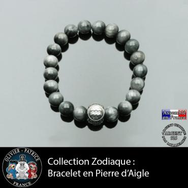 Bracelet pierre d'aigle pour homme et son signe astrologique  boule 3 faces grave