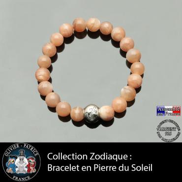 Bracelet en pierre de soleil et son signe astrologique en argent 925 boule zircon