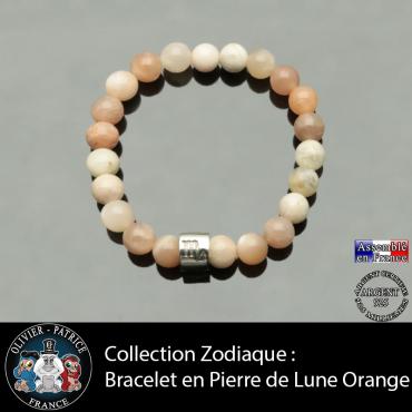 Bracelet en pierre de lune orange et son signe astrologique sur un tube en argent 925