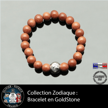 Bracelet goldstone et son signe astrologique boule zircon