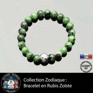 Bracelet rubis zoiste et son signe astrologique boule zircon