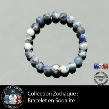 Bracelet sodalite et son signe astrologique boule zircon
