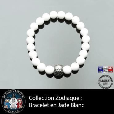 Bracelet en jade blanc et son signe astro en boule gravé 3 faces en argent