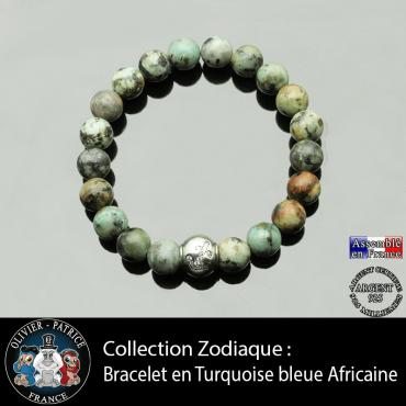 Bracelet turquoise bleue africaine et son signe astrologique boule zircon