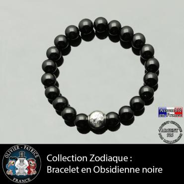 Bracelet obsidienne noire et son signe astrologique boule zircon