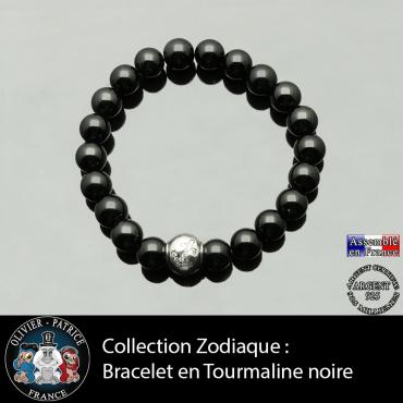 Bracelet tourmaline noire et son signe astrologique boule zircon