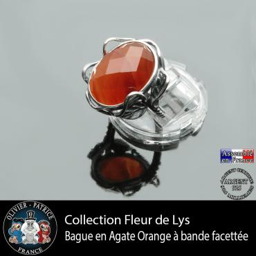 Bague Fleur de lys en agate à bandes orange à facettes et argent 925