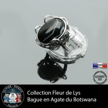 Bague Fleur de lys en agate du Botswana et argent 925