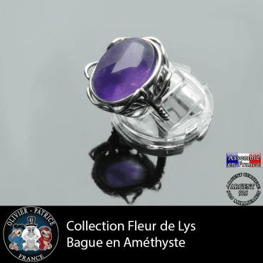 Bague collection Fleur de lys en améthyste et argent 925