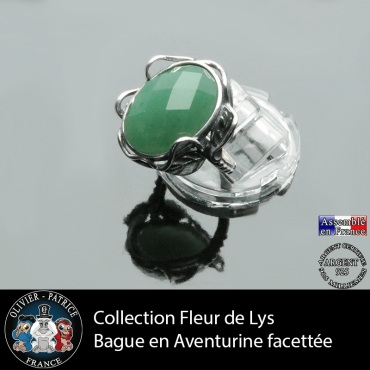 Bague collection Fleur de lys en aventurine verte facettée et argent 925