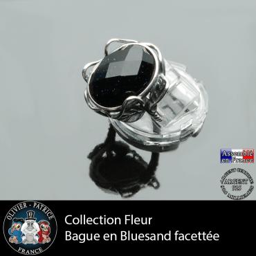 Bague Fleur de lys en pierre blue sand facettée et argent 925