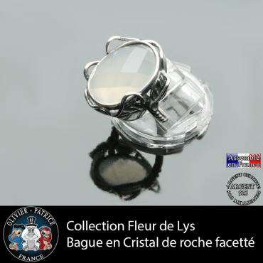 Bague Fleur de lys en cristal de roche facetté et argent 925