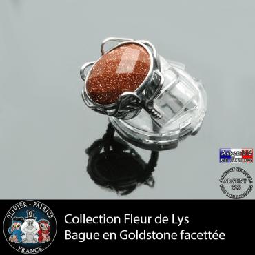 Bague Fleur de lys en goldstone facettée et argent 925