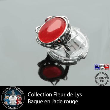 Bague Fleur de lys en jade rouge naturel et argent 925