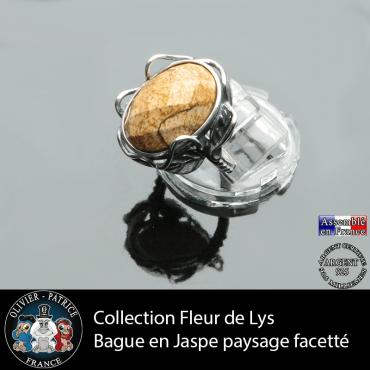 Bague Fleur de lys en jaspe paysage facettée et argent 925