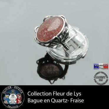 Bague Fleur de lys en quartz fraise et argent 925