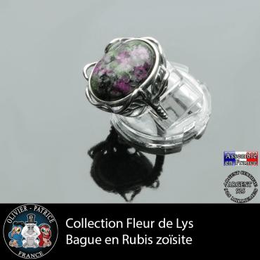 Bague Fleur de lys en rubis zoïsite et argent 925