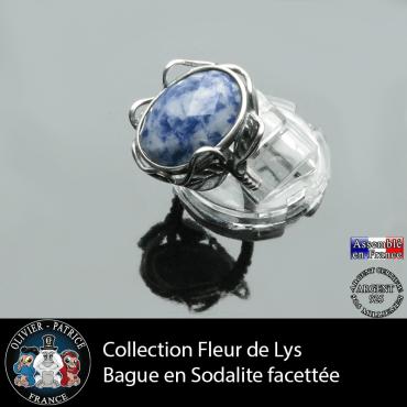 Bague Fleur de lys en sodalite facettée et argent 925