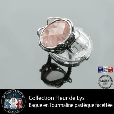 Bague Fleur de lys en tourmaline rose pastèque et argent 925