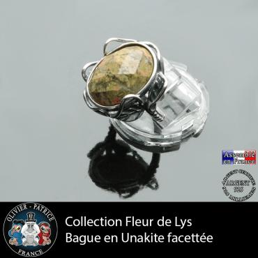 Bague Fleur de lys en unakite et argent 925