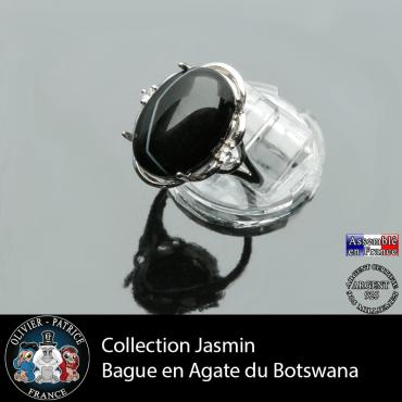 Bague Jasmin en agate du Botswana et argent 925