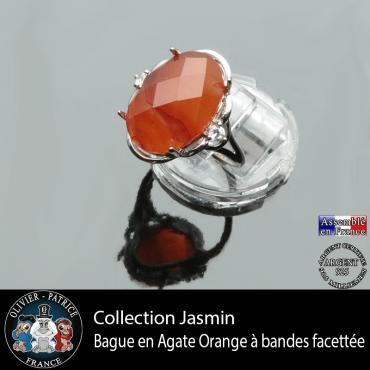 Bague Jasmin en agate à bandes orange et argent 925