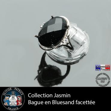 Bague Jasmin en pierre blue sand facetté et argent 925