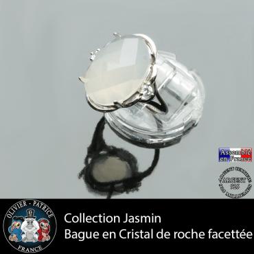 Bague Jasmin en cristal de roche à facettes et argent 925