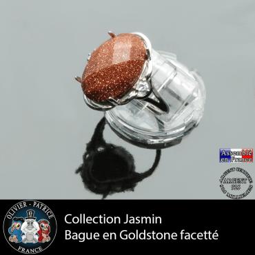 Bague Jasmin en goldstone facettée et argent 925