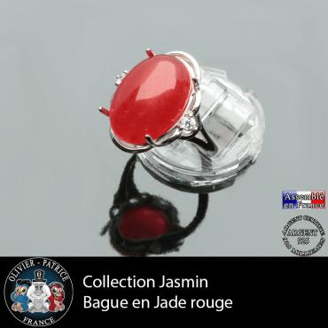 Bague Jasmin en jade rouge et argent 925