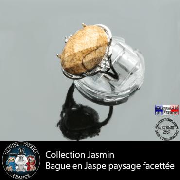 Bague Jasmin en jaspe paysage facetté et argent 925