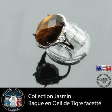 Bague Jasmin en oeil de tigre facetté et argent 925