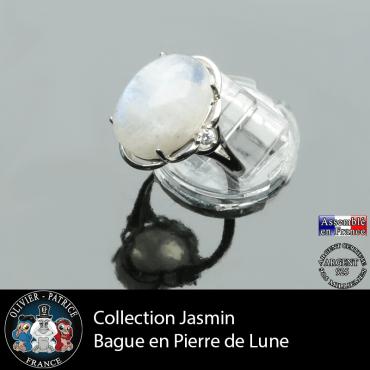 Bague Jasmin en pierre de lune et argent 925
