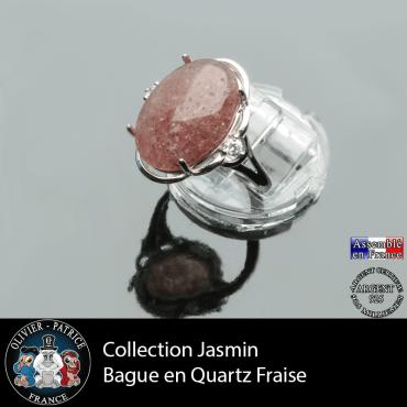 Bague Jasmin en quartz fraise et argent 925