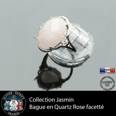 Bague Jasmin en quartz rose facetté et argent 925