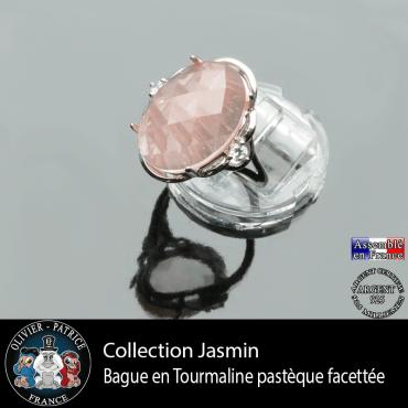 Bague Jasmin en tourmaline rose pastèque et argent 925