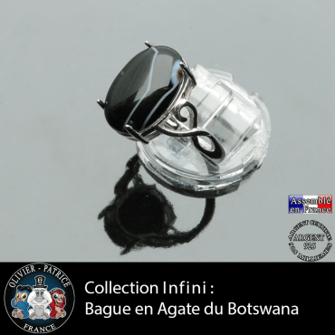 Bague Infini en agate du Botswana et argent 925