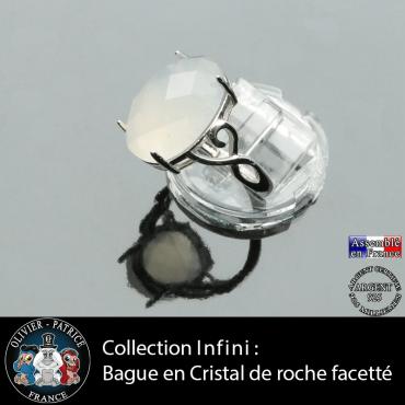 Bague Infini en cristal de roche facettée et argent 925