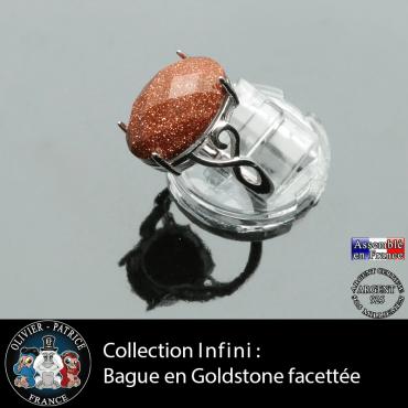 Bague Infini en goldstone facettée et argent 925