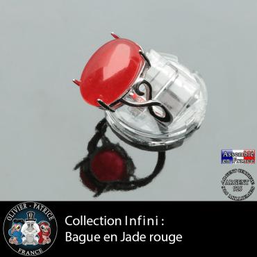 Bague Infini en jade rouge et argent 925