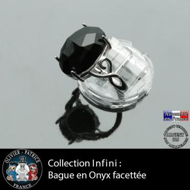 Bague Infini en onyx et argent 925