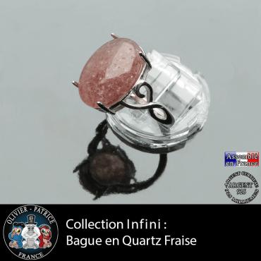 Bague Infini en quartz fraise et argent 925