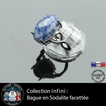 Bague Infini en sodalite facettée et argent 925
