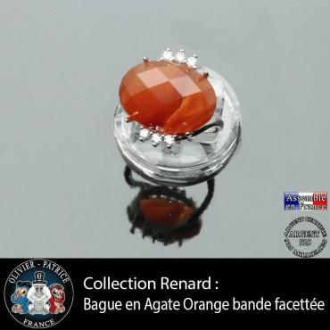 Bague collection Renard en agate à bandes orange facettée et argent 925